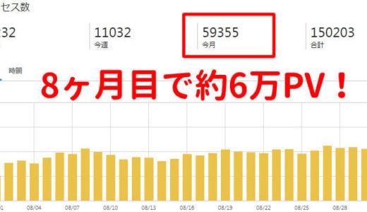 【ブログ運営報告】8ヶ月目は5万PV突破で収益は?不安でたまらないけど新たな目標を目指す。